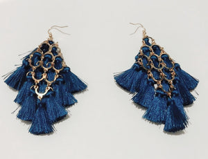 Teal Tassels Statement Earrings