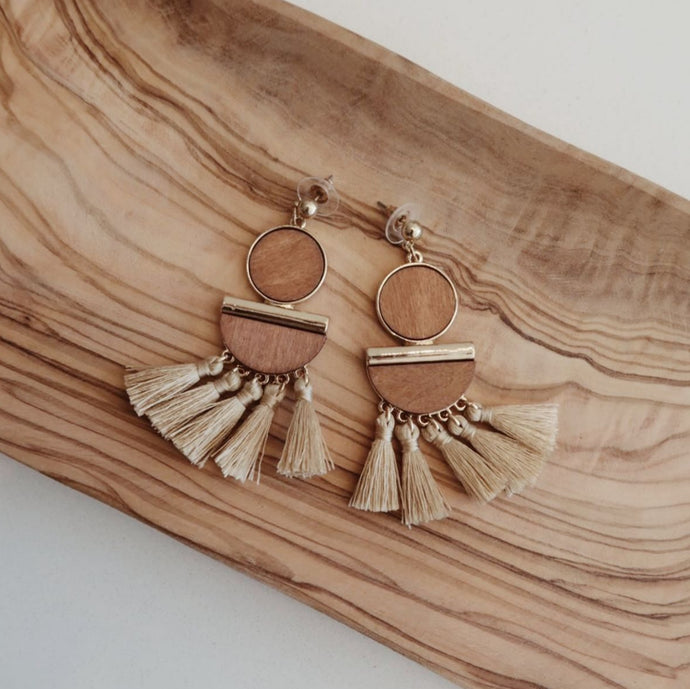 Wooden Geometric Shape with Tassels Earrings
