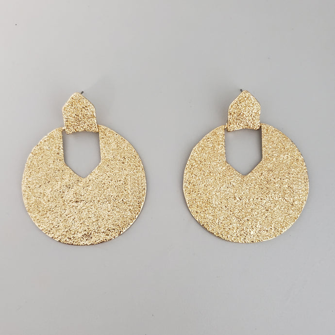 Circle with Pentagon Cut out Statement Earrings
