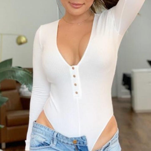 White Cotton Plunge Neck Body Suit