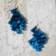 Load image into Gallery viewer, Teal Tassels Statement Earrings
