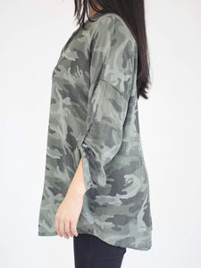 Camo Blouse with Buttons