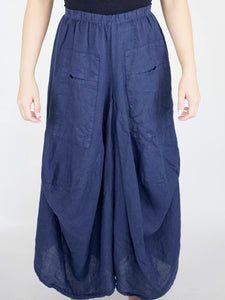 Cropped Wide Leg Linen Pants