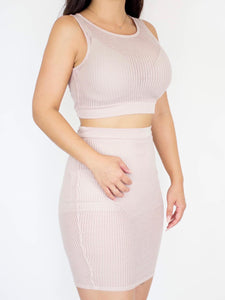 Nude Pink Two Piece Dress