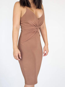 Camel Twisted Front Dress