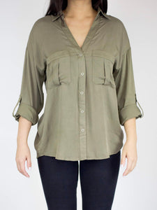 Olive Green Utility Blouse