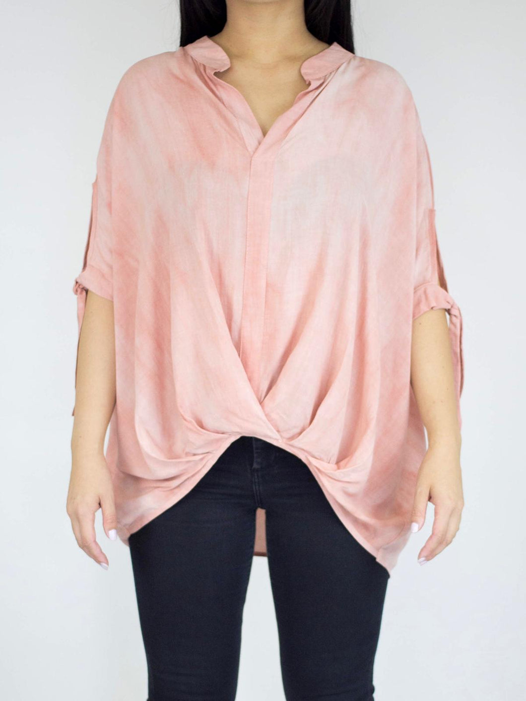 Coral Tie Dye Front-Ruching Blouse