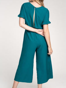 Emerald Jumpsuit with Ruffle Sleeves