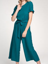 Load image into Gallery viewer, Emerald Jumpsuit with Ruffle Sleeves