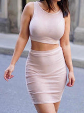 Load image into Gallery viewer, Nude Pink Two Piece Dress
