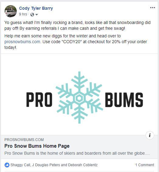 Pro Snow Bums Ambassador Facebook Post