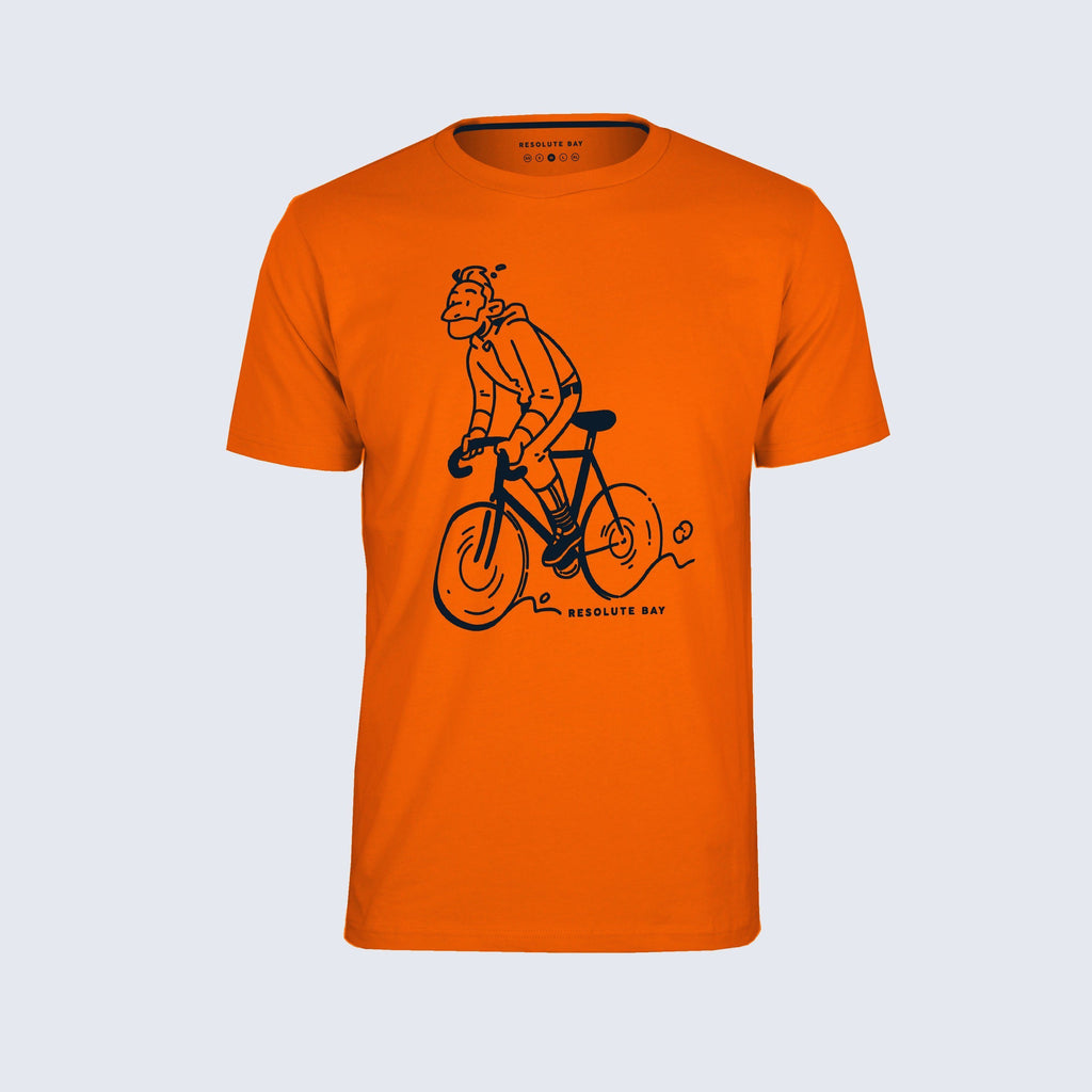 Resolute Bay PHYSICAL Small / Orange Graphic Tee / Orange cycling commuter jeans reflective jacket