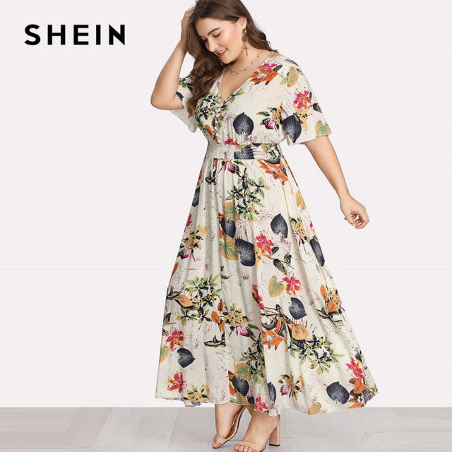 566ed85e121c3c SHEIN Floral Plus Size White Dress Women Maxi Long Dress – Edge Wear