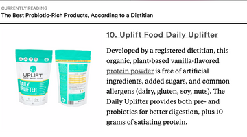 Uplift Food featured as the best probiotic product according to a registered dietitian in Greatest.com