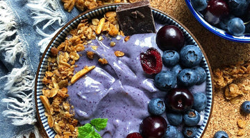 Prebiotic-Fiber Blueberry & Cherry-Vanilla Smoothie Bowl!