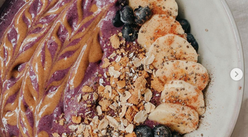 Prebiotic Fiber Blueberry Muffin Smoothie Bowl