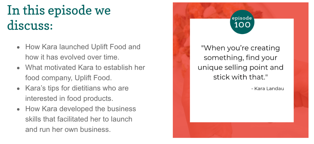 Dietician boss Podcast kara landua uplift food daily uplifter prebiotic