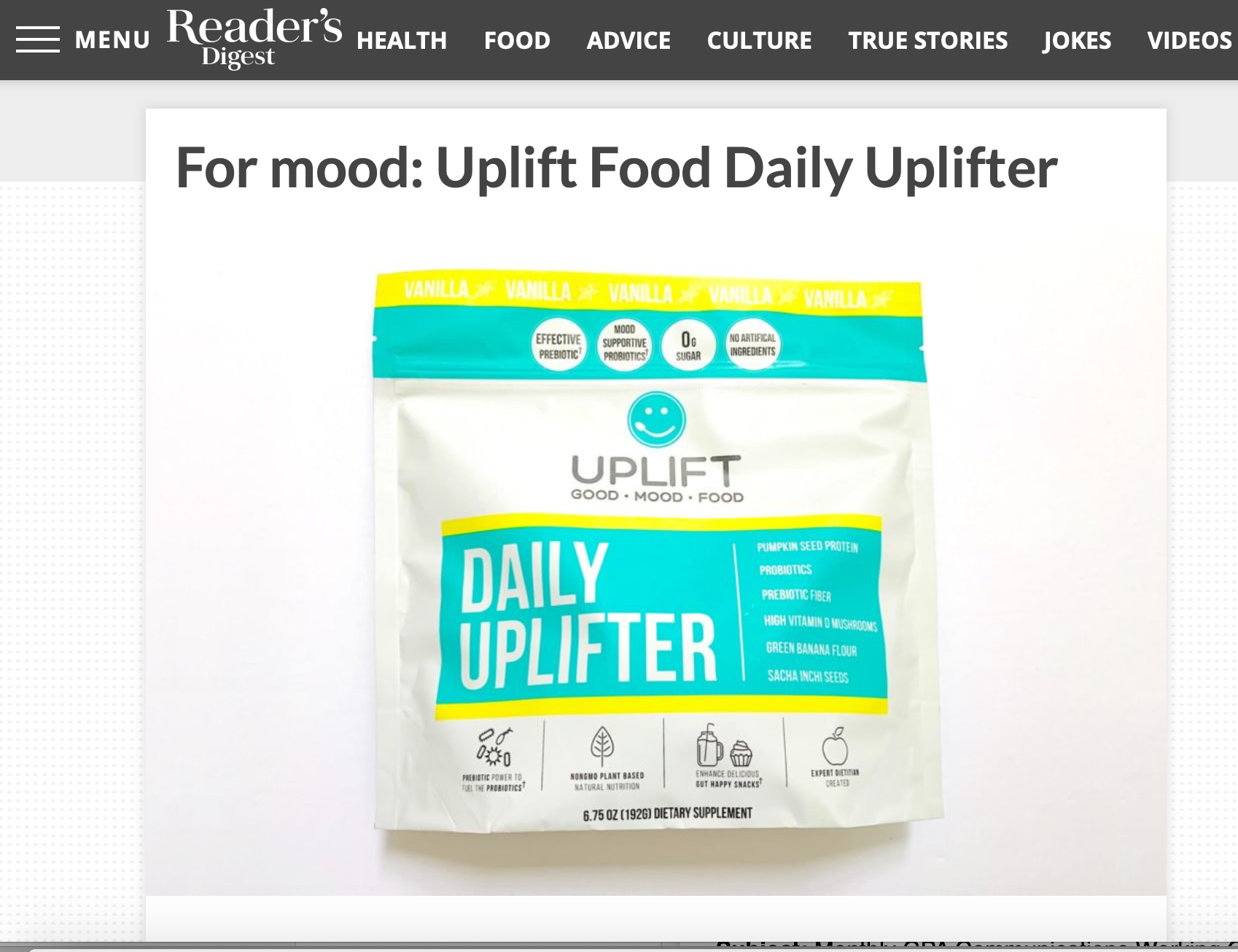Uplift Food Daily Uplifter Nutritionist Trusted Probiotic Brand Readers Digest Prebiotic Fiber Supplement Resistant Starch Mood Probiotics