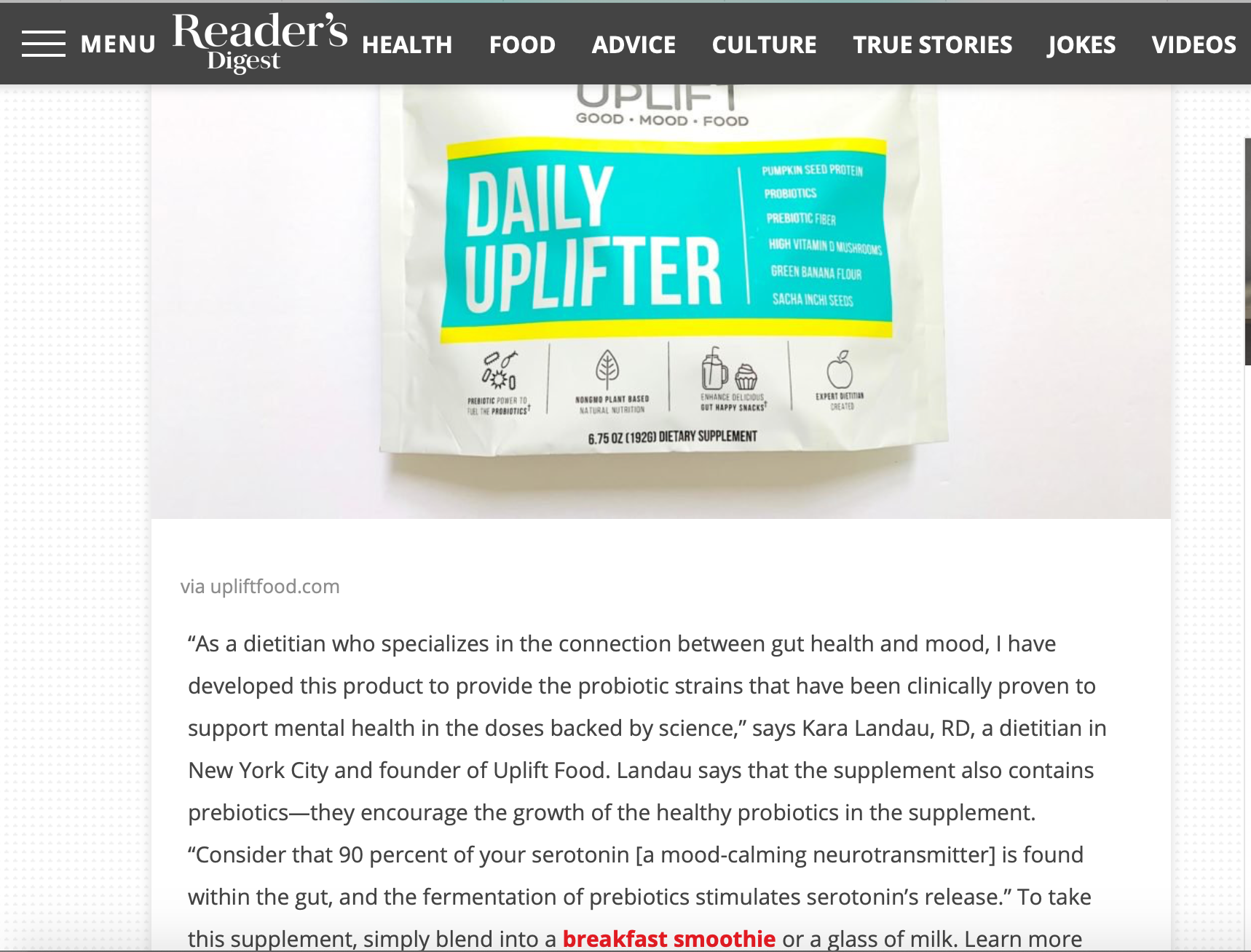 Uplift Food Daily Uplifter Kara Landau Prebiotic Supplement Fiber Resistant Starch Readers Digest Media