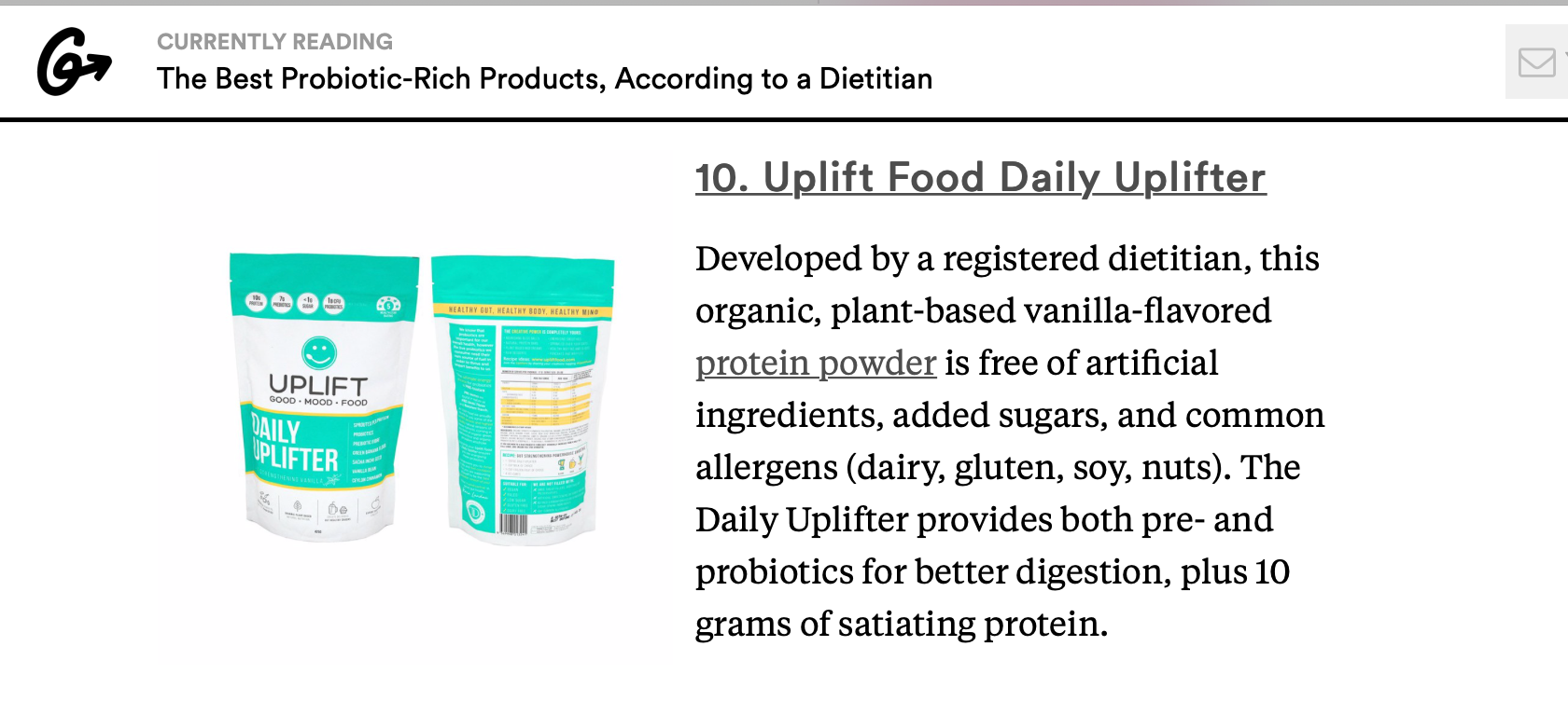 Uplift Food Daily Uplifter best probiotic product prebiotic registered dietitian psychobiotics greatist.com