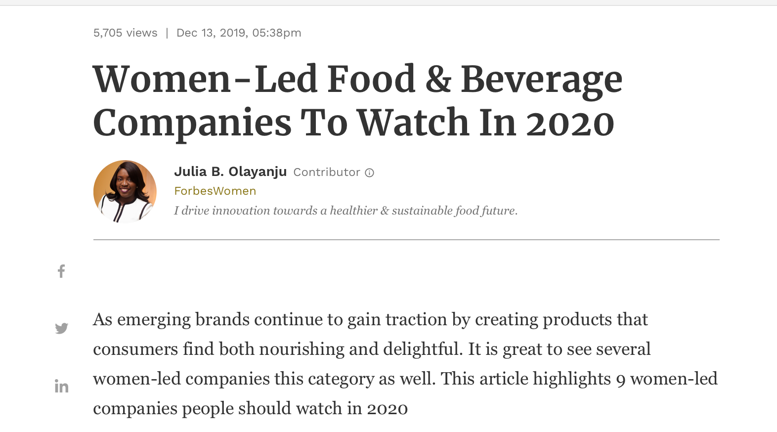forbes women founded companies to watch 2020 kara landau uplift food