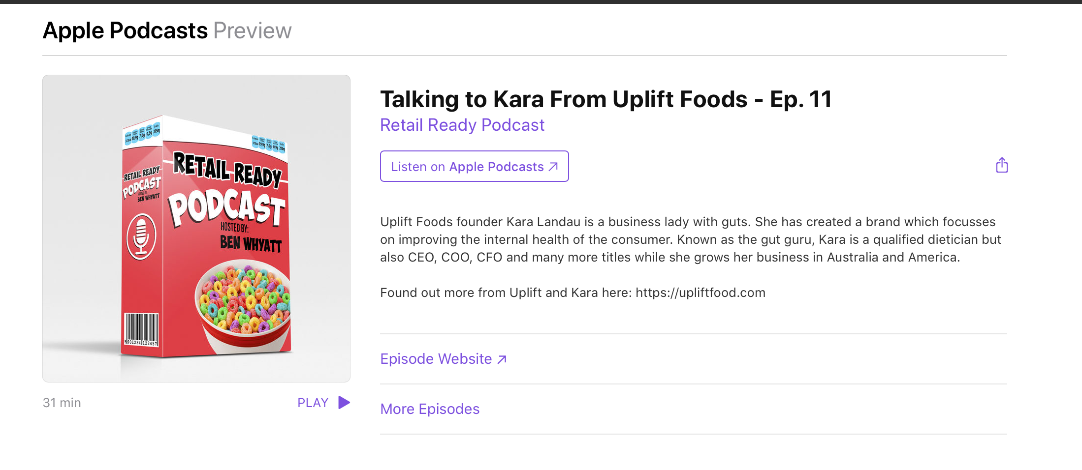uplift food retail ready podcast australia founder featured guest expert