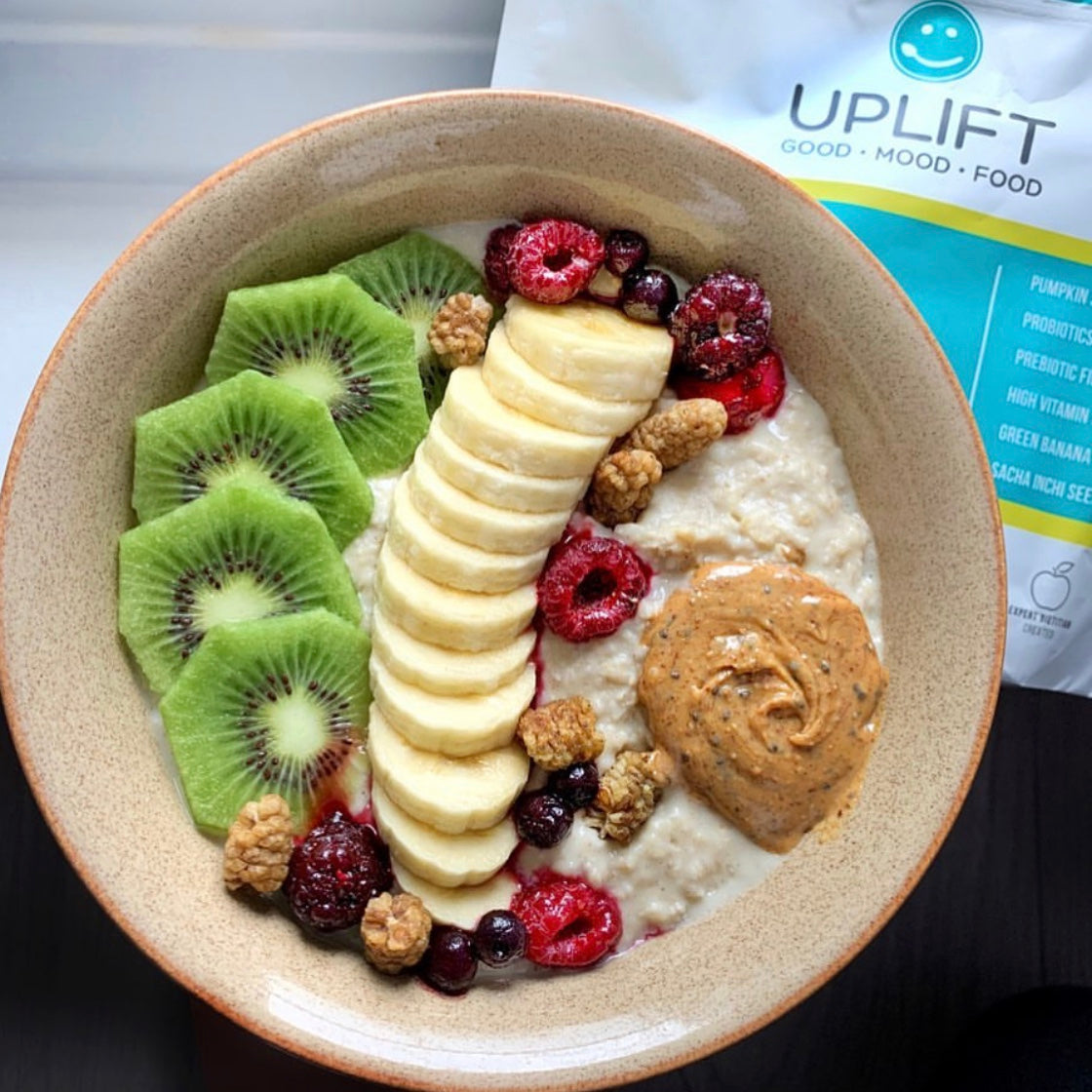 upliftfood daily uplifter prebiotic supplement gut health psychobiotic @wakeupandsmelltherosay