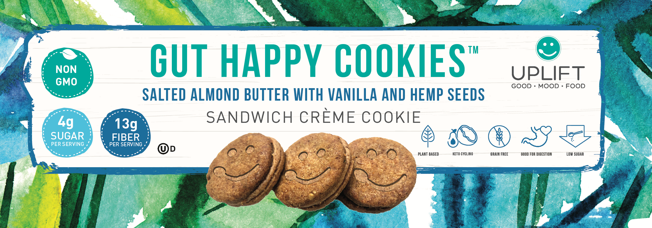 uplift food gut happy cookies high fiber prebiotic fiber vegan keto cookie breakfast biscuit