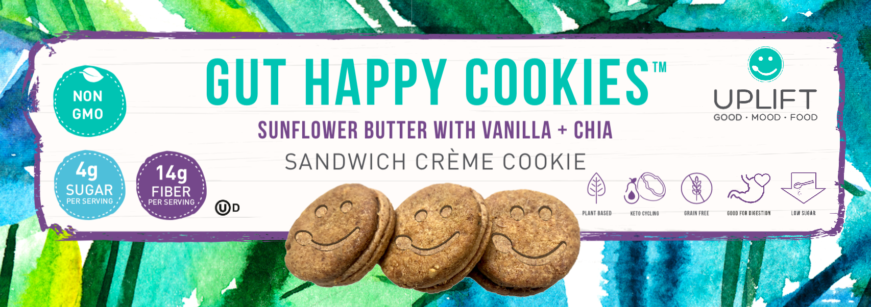 uplift food gut happy cookies prebiotic functional snacks high fiber probiotics