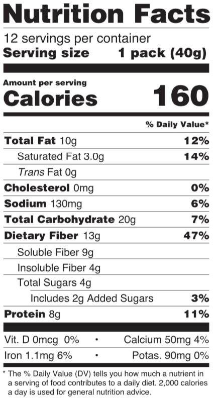 uplift food gut happy cookies nutrition facts panel salted almond butter vanilla hemp