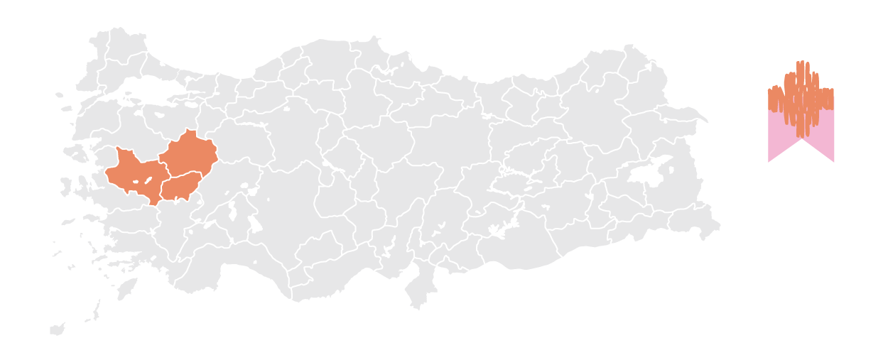 regional map of turkey high lighting areas with overdyed and turkish oushak rugs