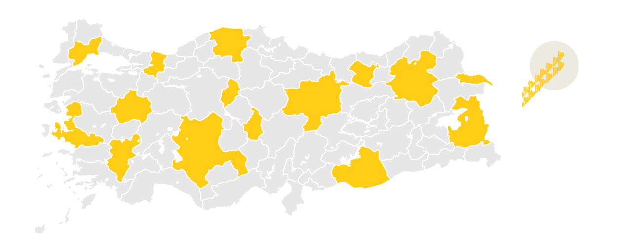 region map of turkey with yatsik rug regions highlighted in yellow