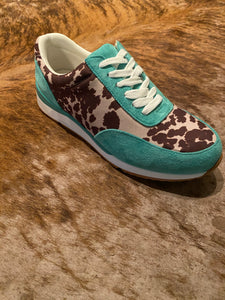 Turquoise cow print shoes