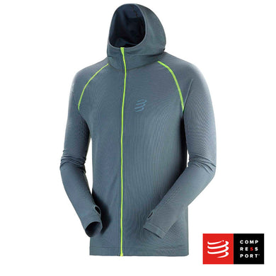 3D Thermo Seamless Hooddie Gris - BORN TO SWIMBIKERUN 2020 Compressport