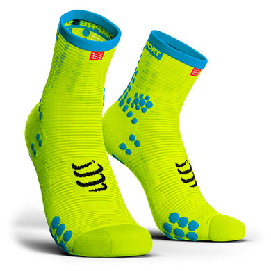 Calcetines Pro Racing Socks RUN High V3 Amarillo Flúo - Compressport