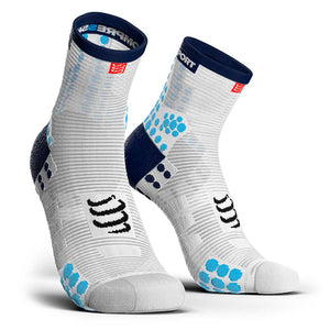 Calcetines Pro Racing Socks RUN High V3 Blanco/Azul