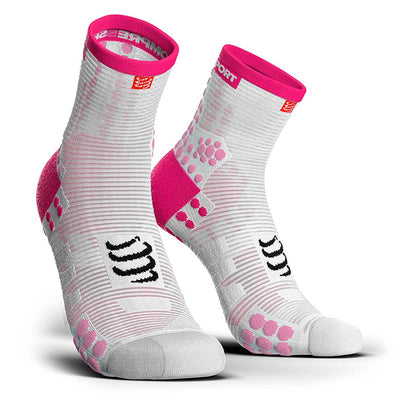 Calcetines Pro Racing Socks RUN High V3 Blanco/Rosado