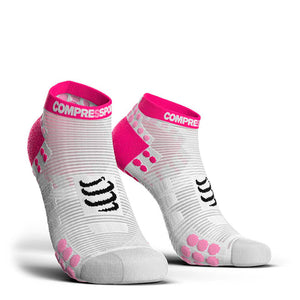 Calcetines Pro Racing Socks RUN Low V3 Blanco/Rosado