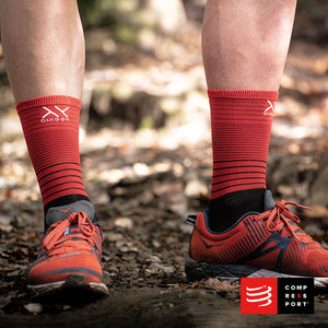 Nuevo Calcetín Mid Compression Negro/Rojo Compressport