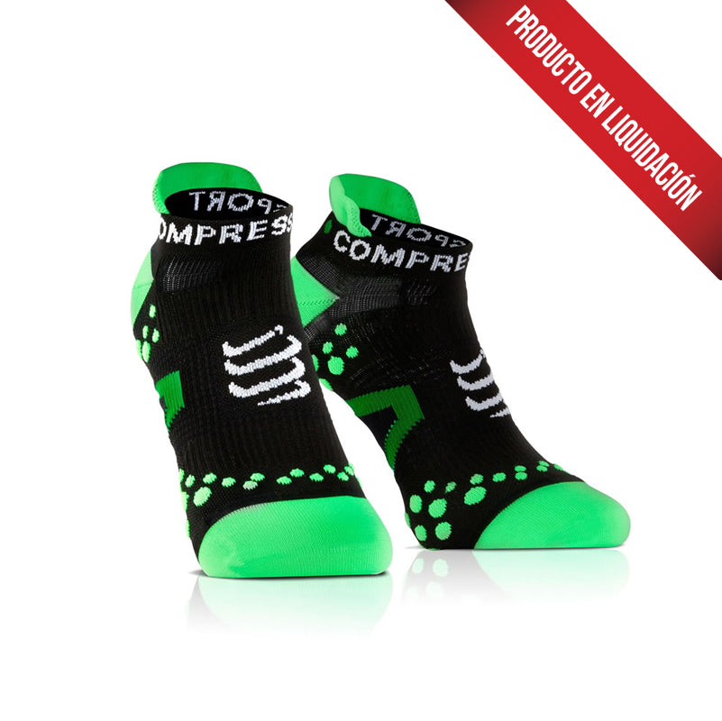 Calcetín Pro Racing Run Low V2.1 COMPRESSPORT Negro/Verde