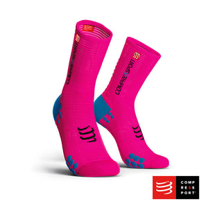 Calcetines COMPRESSPORT Pro Racing Socks BIKE V3 Rosado Flúo
