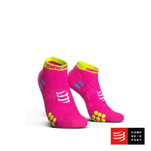 Calcetines Pro Racing Socks RUN Low V3 Rosado Flúo