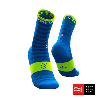 Calcetines COMPRESSPORT Pro Racing Socks Run High Ultralight V3 Fluo/Blue