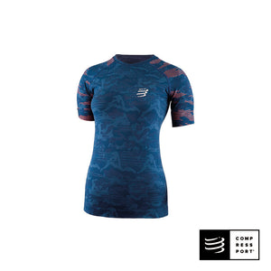 Training Tshirt SS COMPRESSPORT Camo Blue Mujer - CAMO NEON 2020