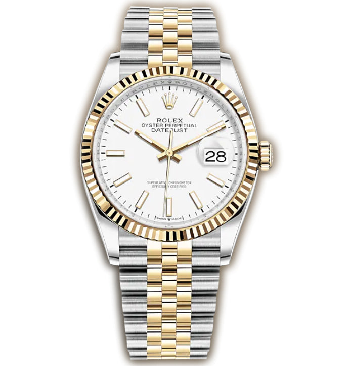 36mm Steel & Yellow Gold Fluted Bezel White Index Dial Jubilee Bracelet