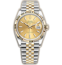 36mm Steel & Yellow Gold Fluted Bezel Champagne Index Dial Jubilee Bracelet
