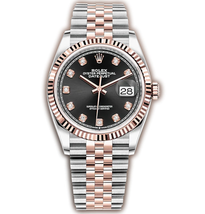 36mm Steel & Rose Gold Fluted Bezel Black Diamond Dial Jubilee Bracelet