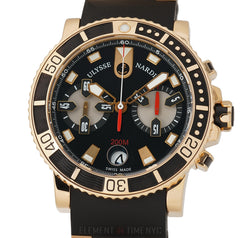 Maxi Marine Diver Chronograph 18k Rose Gold 43mm Black Dial