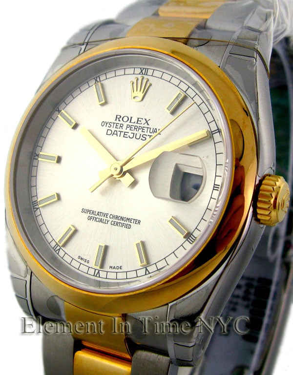 Steel / 18k Yellow Gold White Dial 36mm