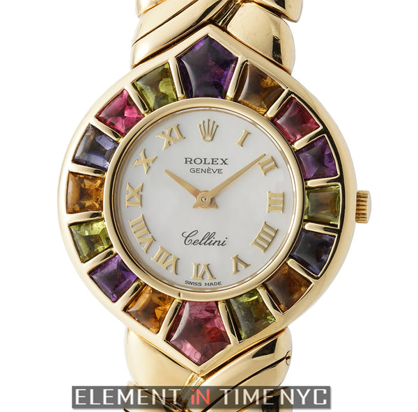 18k Yellow Gold 28mm Color Stone White Mother Of Pearl Dial Circa 1992